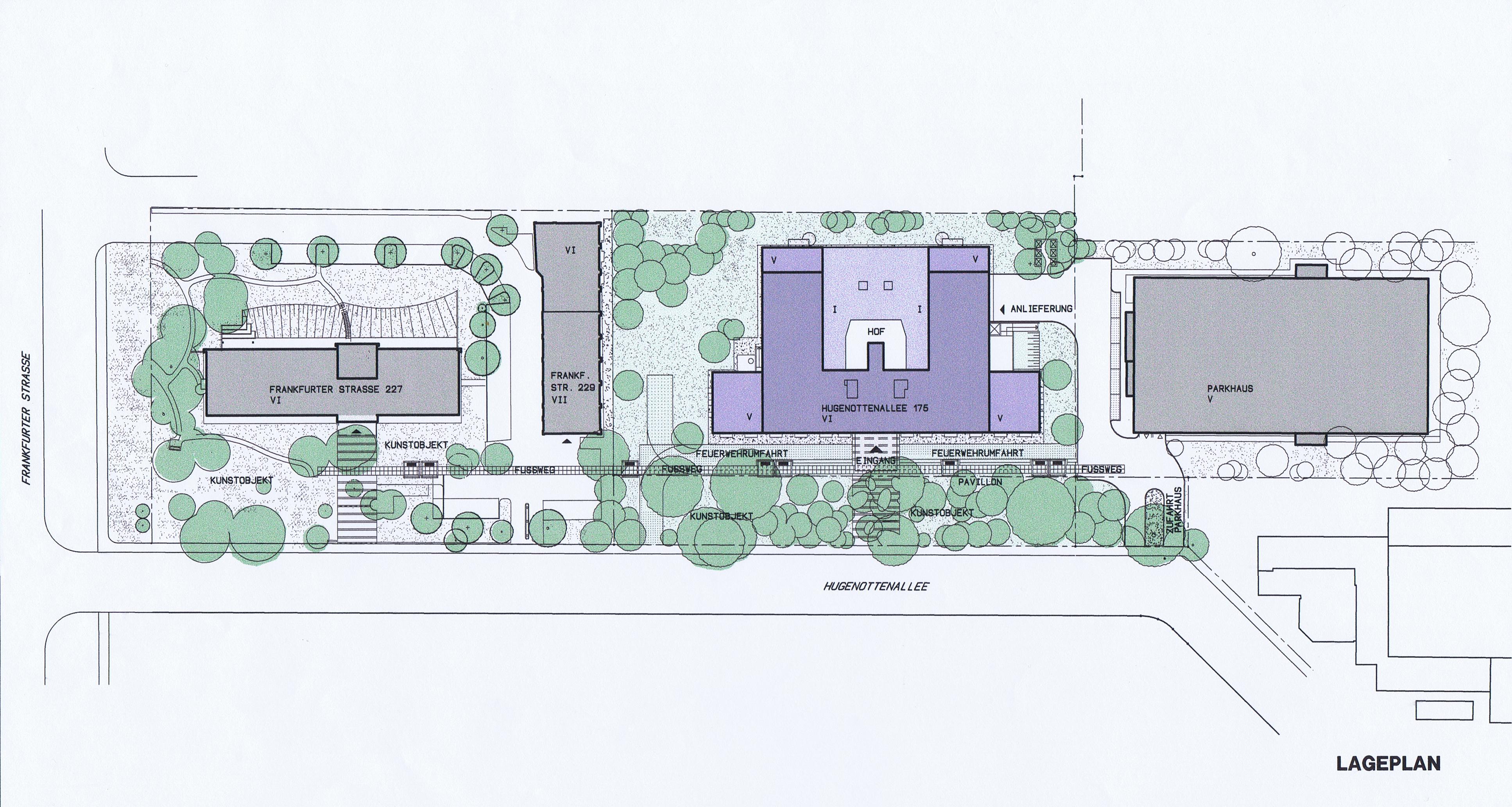 Lageplan Bürogebäude Hugenottenalle Neu-Isenburg